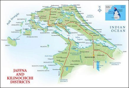 Jaffna-Kilinochchi Map