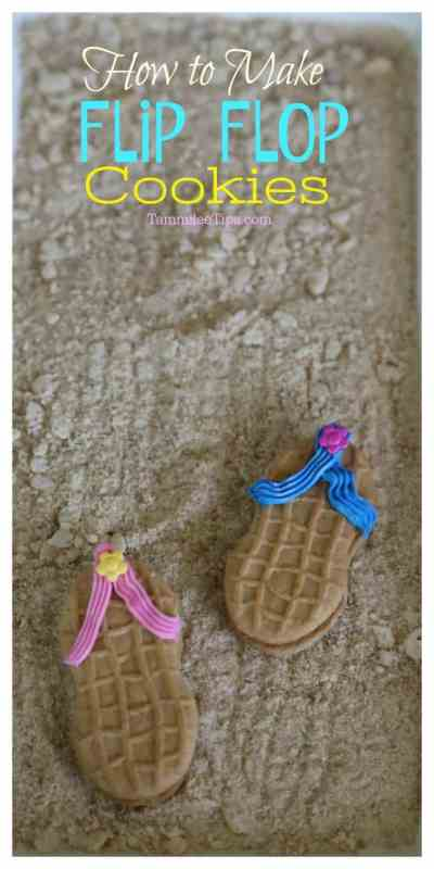 How to Make Flip Flop Cookies with Nutter Butters, plus how to make edible sand. Super fun summer cookies that are DIY and easy to make!