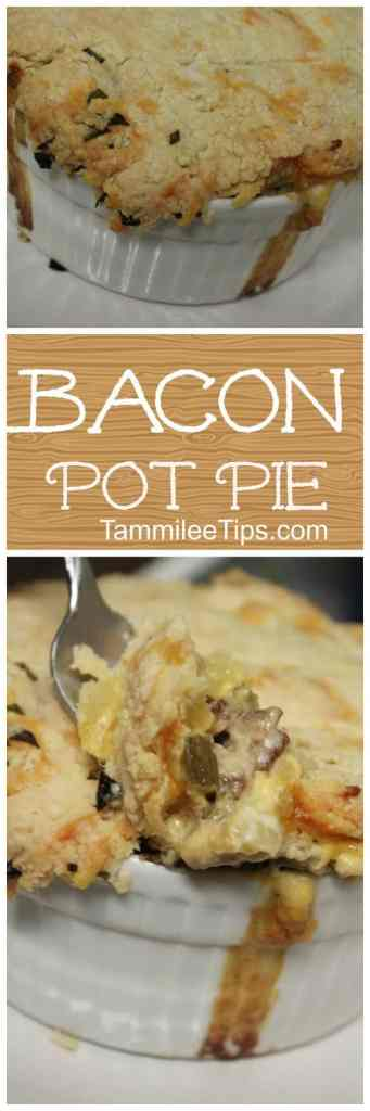 A new take on classic pot pie...BACON Pot Pie! Filled with bacon, potatoes, and veggies! So easy to make and the family will love this dinner recipe. Did I mention the cheesy biscuit on top!