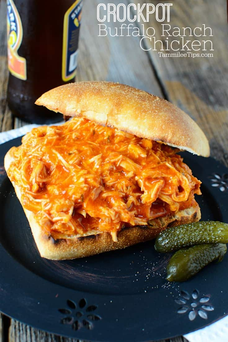 Simple easy Crock Pot Spicy Buffalo Ranch Chicken Sandwich Recipe! Only 3 ingredients needed to make this crockpot recipe. Perfect for Super Bowl or any day of the week. This easy slow cooker recipe is a family favorite! You could also add this buffalo ranch chicken to tacos, pasta, or a salad! Franks Red Hot allows you to decide how spicy you want your chicken. 