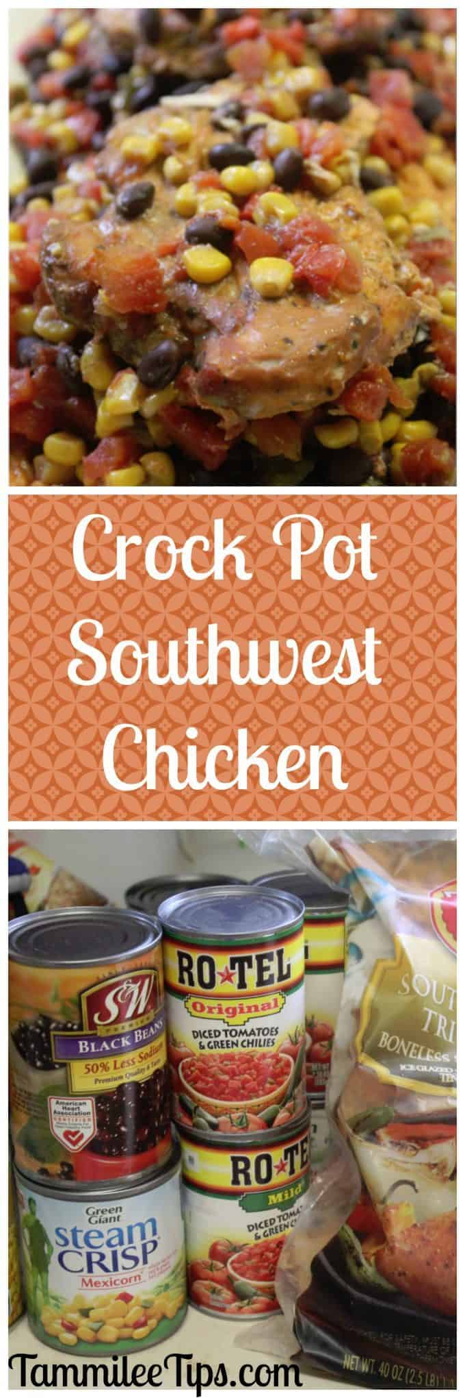 Crock Pot Southwest Chicken Recipe! This slow cooker chicken recipe can be as spicy as you would like it! So easy to make it is the perfect dinner recipe.