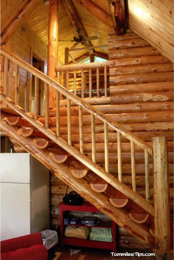 Lakedale Resorts Log Cabin Living room stairs