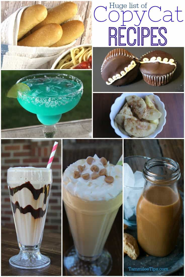 Huge list of how to make copycat recipes including Olive Garden, Starbucks, Arbys, Carnival Cruise line, Chili's, Wendy's, Cracker Barrel,  and so many more! Drinks, Desserts, Appetizers, entrees and the soups that you love! Learn how to make your favorite restaurant meals at home!