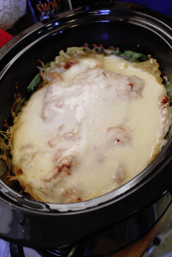 Crock Pot Spinach Lasagna cooked