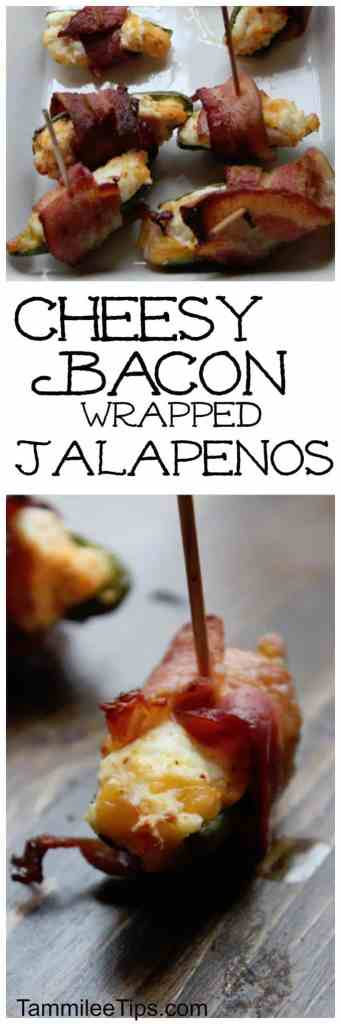 Cheesy Bacon wrapped Jalapenos Poppers are the perfect appetizer for New Years, football parties and the Super Bowl! So easy to make baked in the oven!