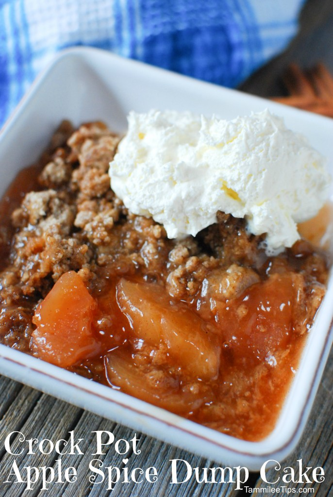 Super easy Crock Pot Apple Spice Dump Cake Recipe! This recipe uses pie filling, cake mix, and a few other ingredients to make a delicious fall dessert slow cooker recipe!