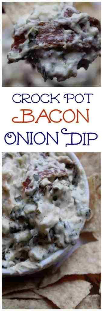 This crockpot bacon onion dip is so easy to make and the perfect appetizer! The crock pot does the work for you! Great for super bowl, football parties or any event! This slow cooker dip is amazing!