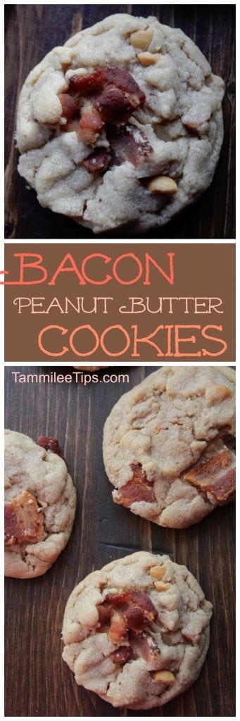 Super easy Peanut Butter Cookies with Bacon! Soft, chewy, with the crunch of bacon! One of the best cookie recipes you will try! Surprise the family with these delicious cookies for Christmas or the holidays!