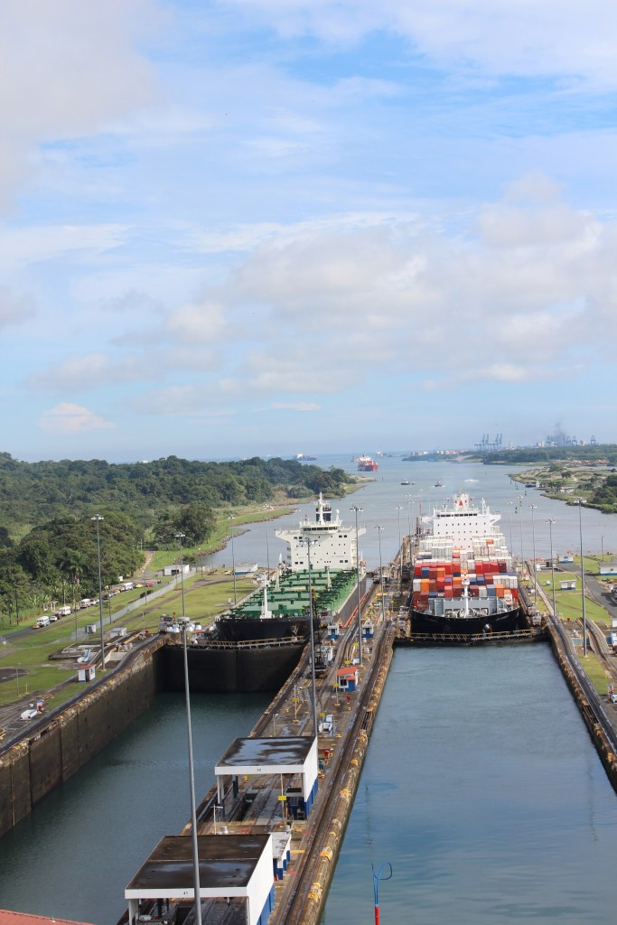 Panama Canal ship in the lock