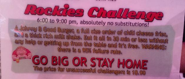 Rockies Diner Boise Rockies Challenge