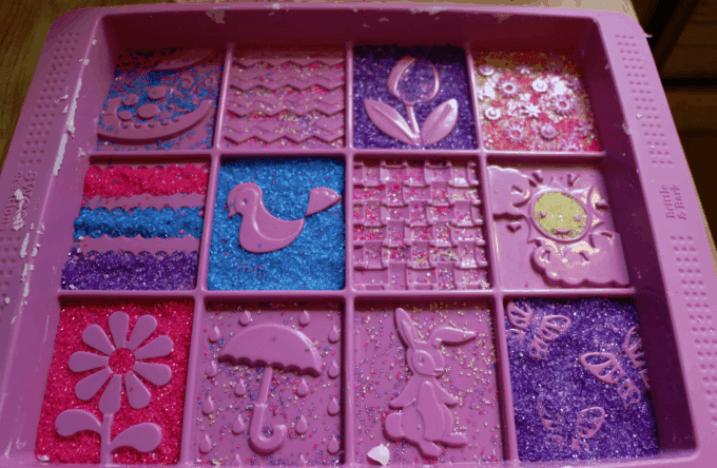 spring fudge in pan mold sprinkles