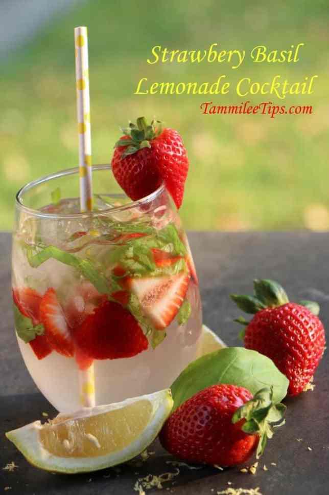 Strawberry Basil Lemonade Cocktail