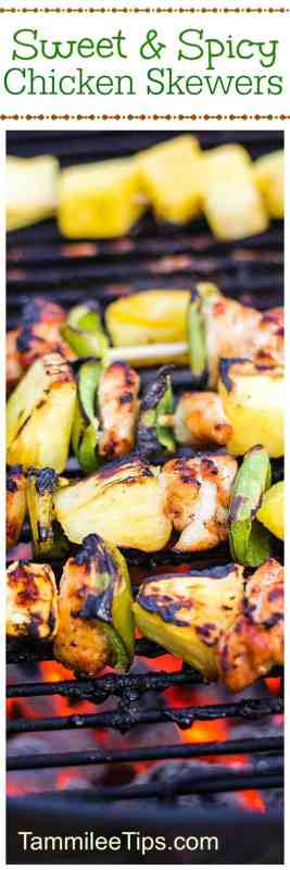 Grilled Sweet and Spicy Chicken Skewers Recipe that is so easy to make! Great for family dinners, bbq, picnics, and more! Pineapple, peppers and chicken grilled together to make a perfect meal.