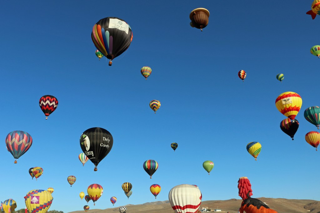 Saturday morning Mass Ascension at Reno Hot Air Baloon Race