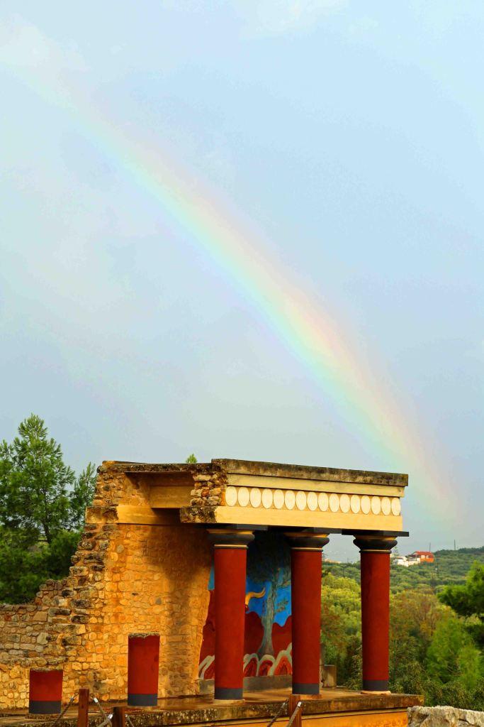 Blog Rainbow over Minoan Ruins Crete Greece