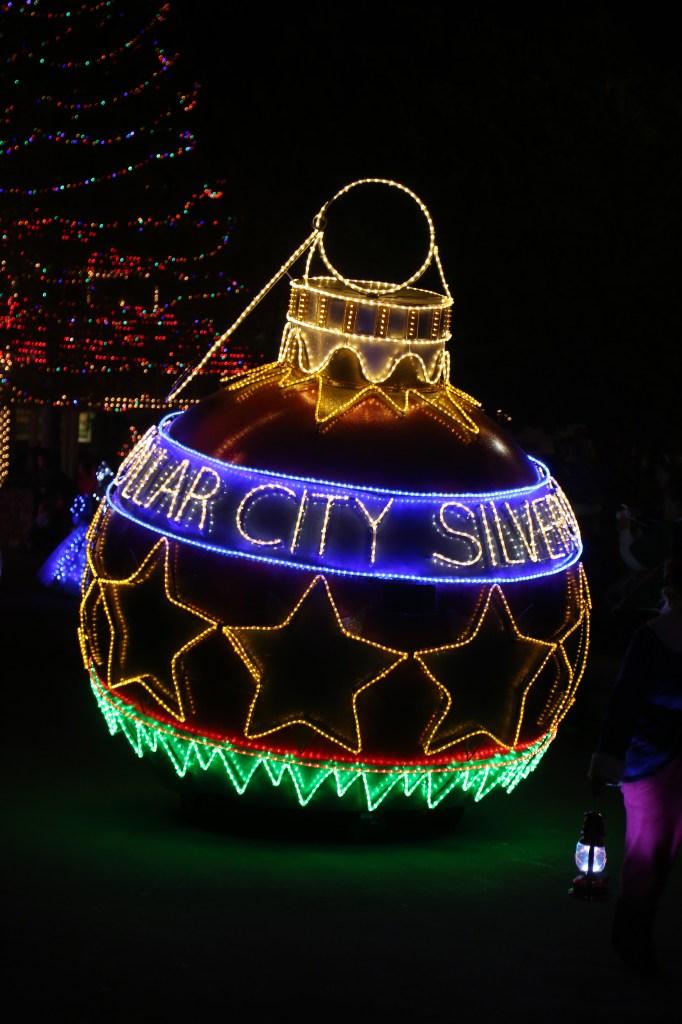 Silver Dollar City christmas ornament in Christmas Parade Branson Missouri