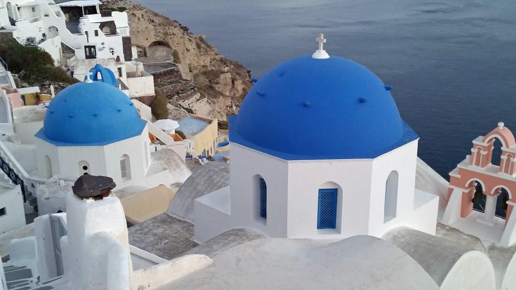 view of church in Santorini Greece