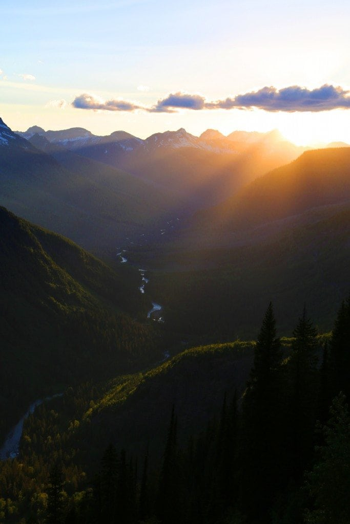 Sun setting on the Going to the Sun Road Glacier National Park