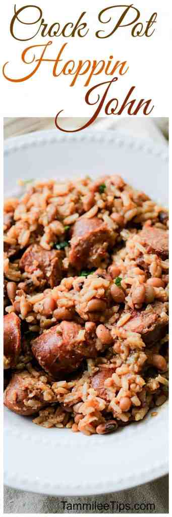 Good luck in the New Year with this Crock Pot Hoppin John Recipe! Super easy dinner recipe the slow cooker does the work! This southern dish includes black eyed peas and so much more!
