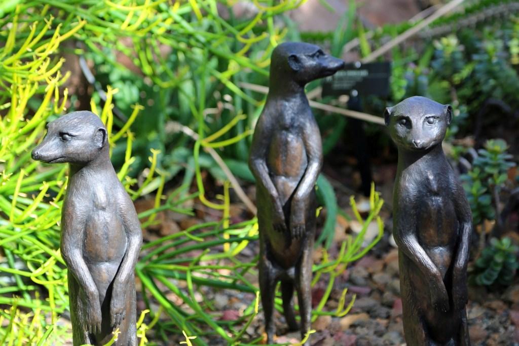 Meercat sculptures inside Sculpture Garden Park Grand Rapids