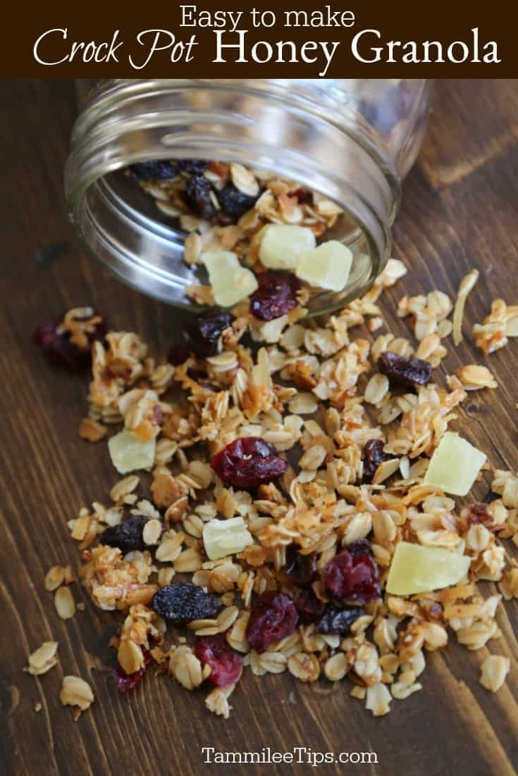 Easy to make homemade Crock pot slow cooker honey granola perfect for an afternoon snack or back to school. #recipe #granola #easyrecipe #crockpot #slowcooker