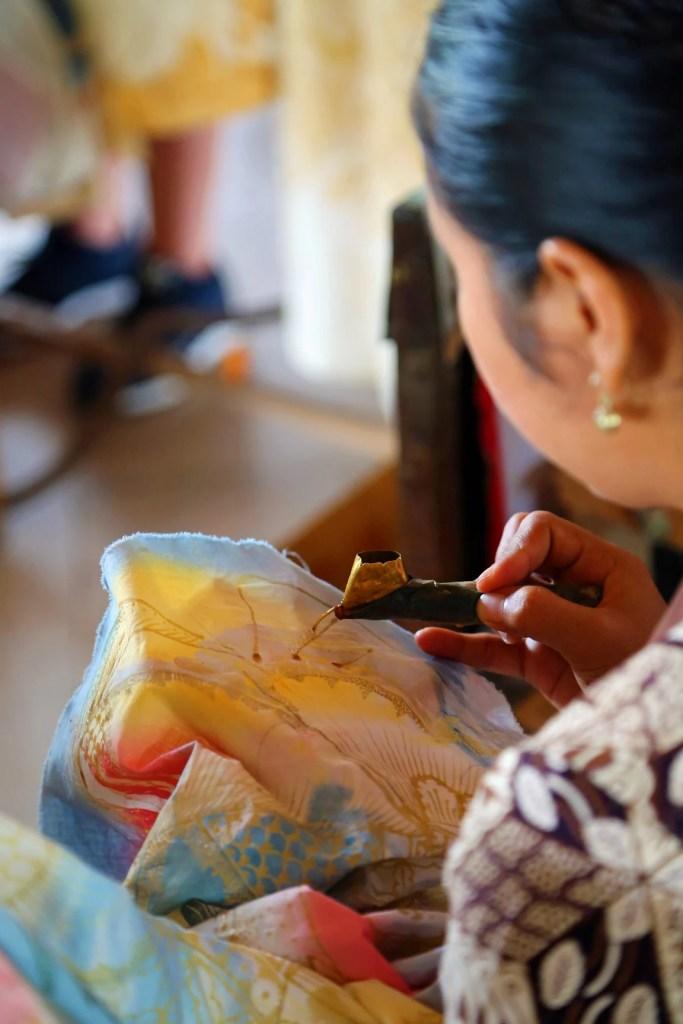 Batik Factory worker doing detailed work