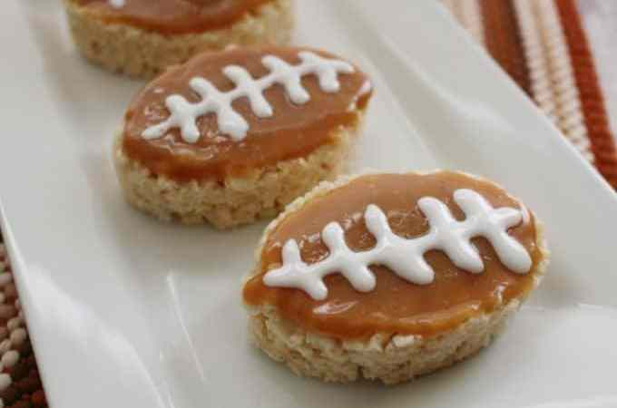 Salted Caramel Rice Krispies Football Treats!