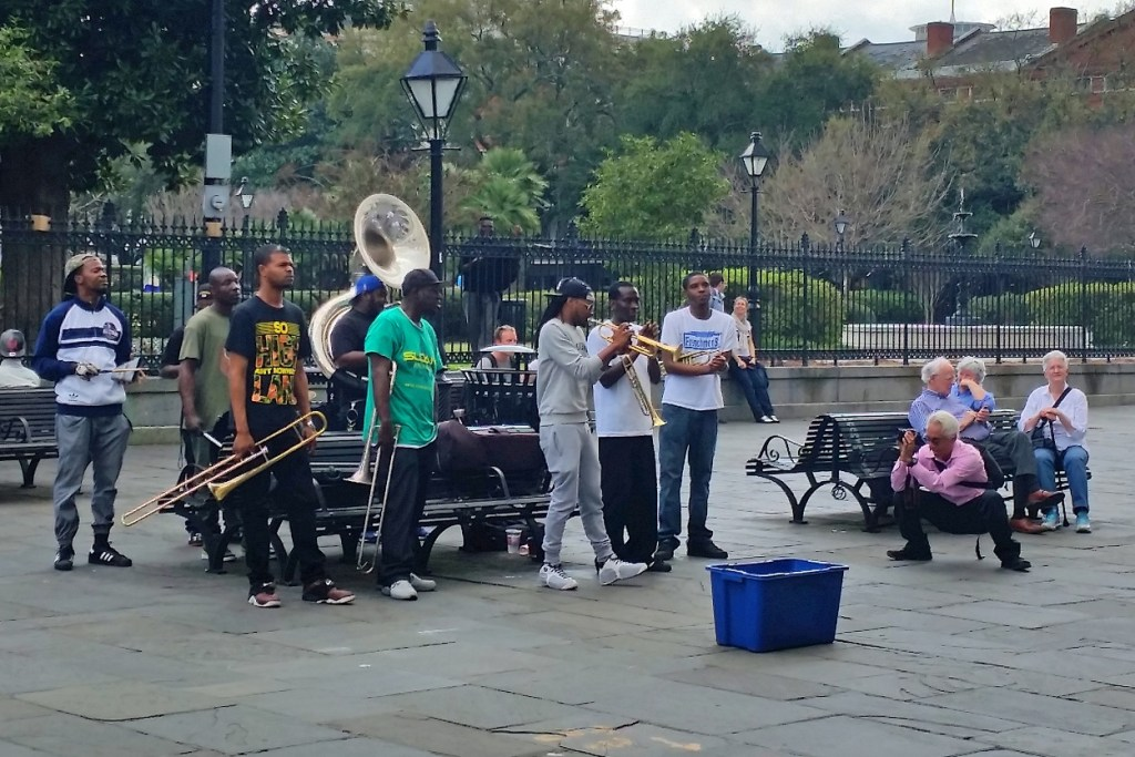 band playing at Jackson Square New Orleans
