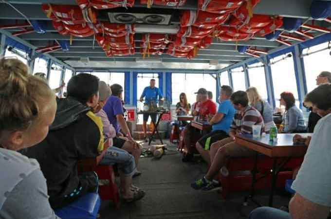 Enjoying the lobster tales experience on Shediac Bay Cruises
