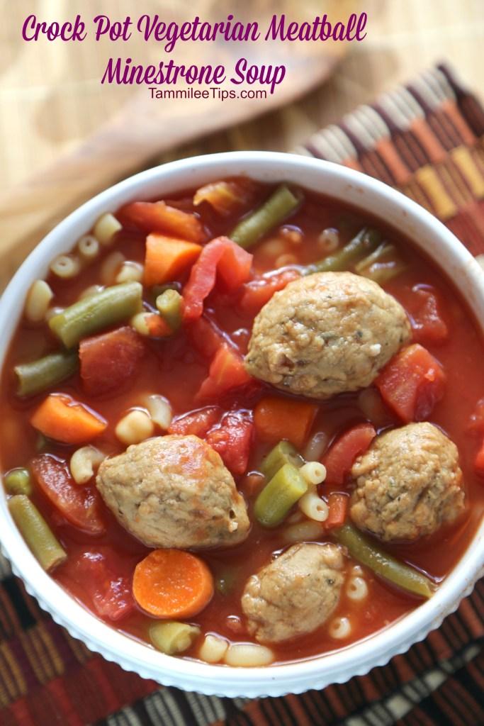Crock Pot Vegetarian Meatball Minestrone Soup Recipe
