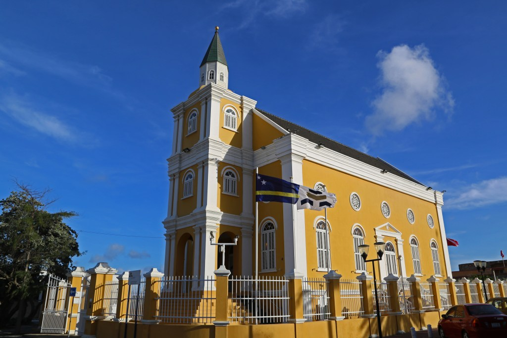 Gorgeous yellow church in Curacao