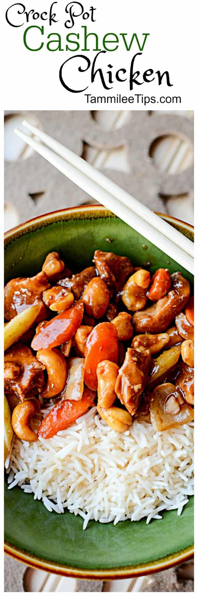 Easy Crock Pot Cashew Chicken Recipe! The slow cooker crockpot makes this recipes easy, healthy, and delicious! Not too spicy but you can easily make it spicier if you prefer. #crockpot #slowcooker #recipe #chicken #comfortfood