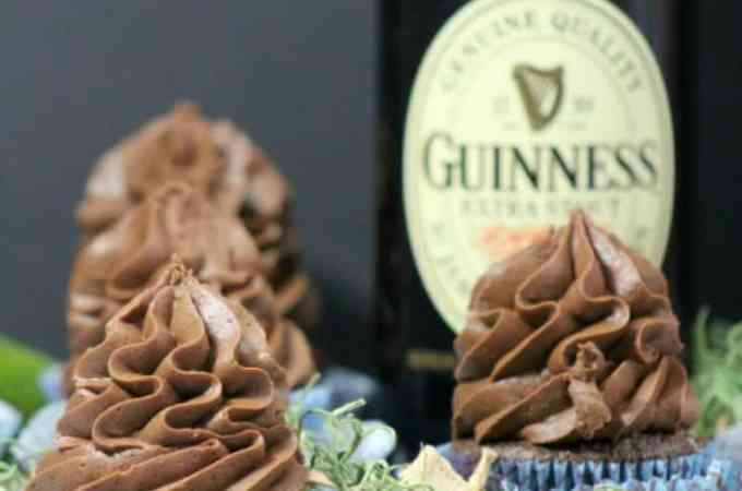 Super easy Guinness Chocolate Cupcakes Recipe perfect for St Patricks Day! Celebrate St Pattys with this delicious desserts recipe! #guinness #chocolate #cupcake #stpatricksday