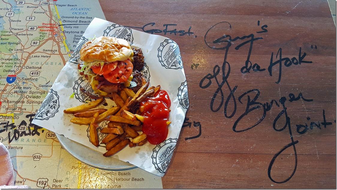 Hamburger and fries at Guys Burger Joint Carnival Conquest