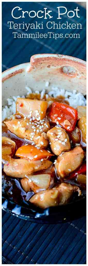 Best Easy Crock Pot Teriyaki Chicken Recipe with vegetables! This Asian inspired slow cooker recipe is absolutely delicious! Great freezer meal with pineapple and peppers, Serve with rice.