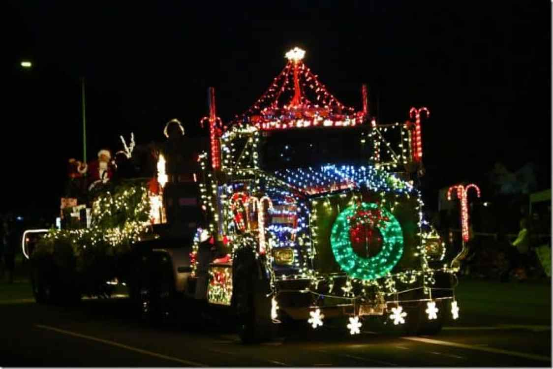 Santa Claus on back of semi truck in the Waimea Hawaii Christmas Parade