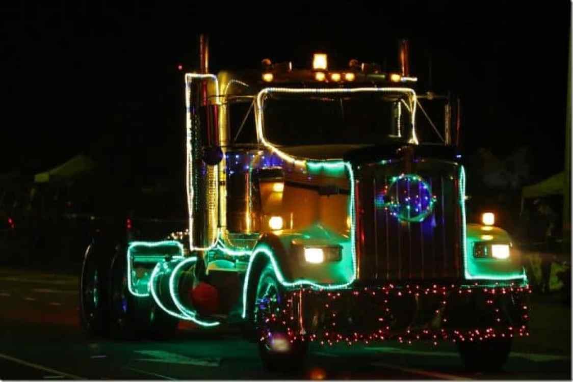 Semi truck in Waimea Hawaii Christmas Parade