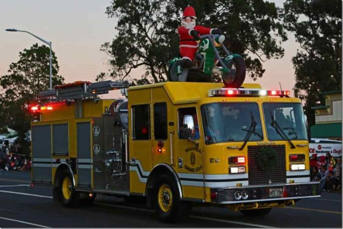Waimea Fire truck in the Waimea Christmas Parade
