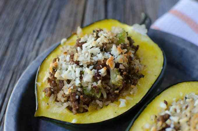 Sausage and Rice Stuffed Acorn Squash Recipe