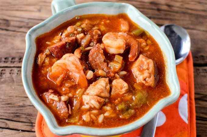 Slow Cooker Crock Pot Gumbo Recipe with Sausage, Chicken, and Shrimp
