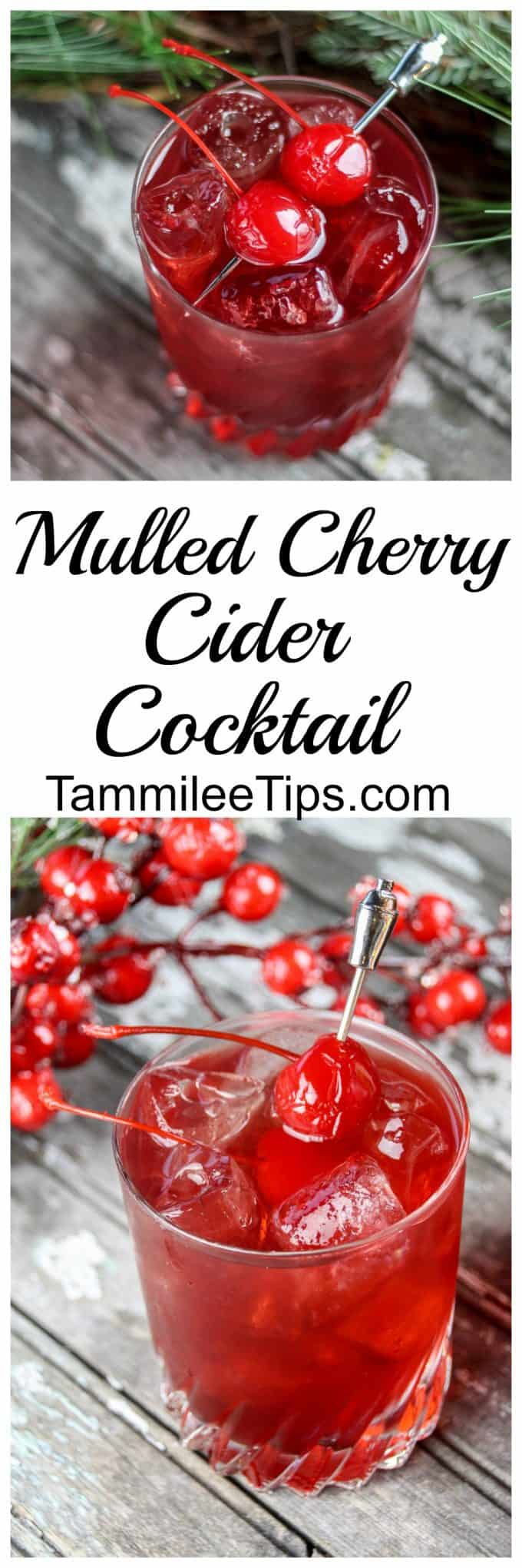 Mulled Cherry Cider Cocktail Recipe perfect for holiday parties and Christmas! Festive fun drink everyone will love! #cocktail #cherry #cider #christmas #holiday #party