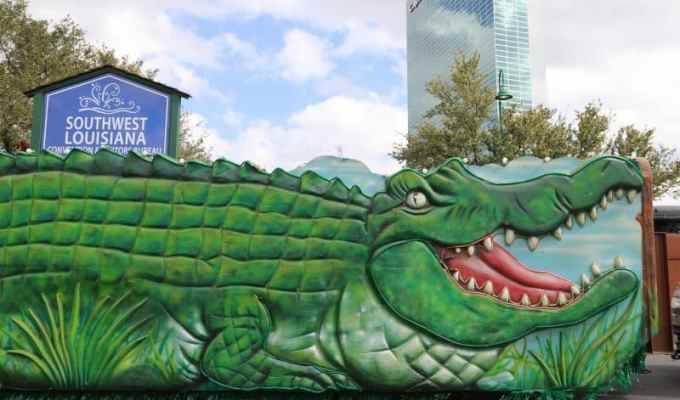 Bucket list moment riding an Alligator Float in the Lake Charles Mardi Gras celebration