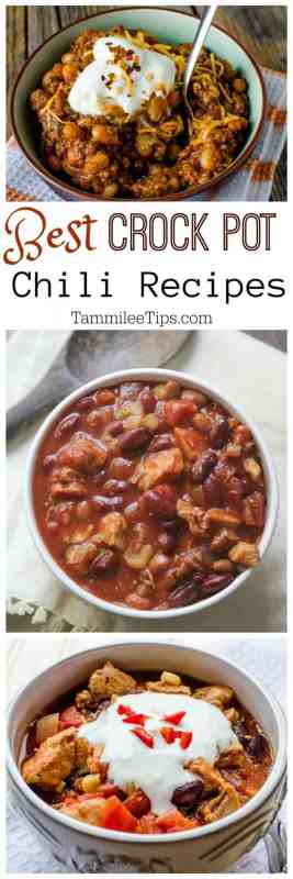 Best Easy Crock Pot Chili Recipes made with beef, chicken, turkey or vegetarian. Hearty comfort food the family will love