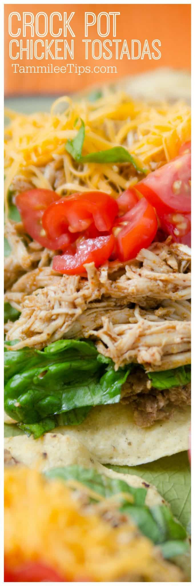 Easy Crock Pot Mexican Chicken Tostadas Recipe! The slow cooker crock pot does all the work and you get a great family dinner. #slowcooker #crockpot #chicken