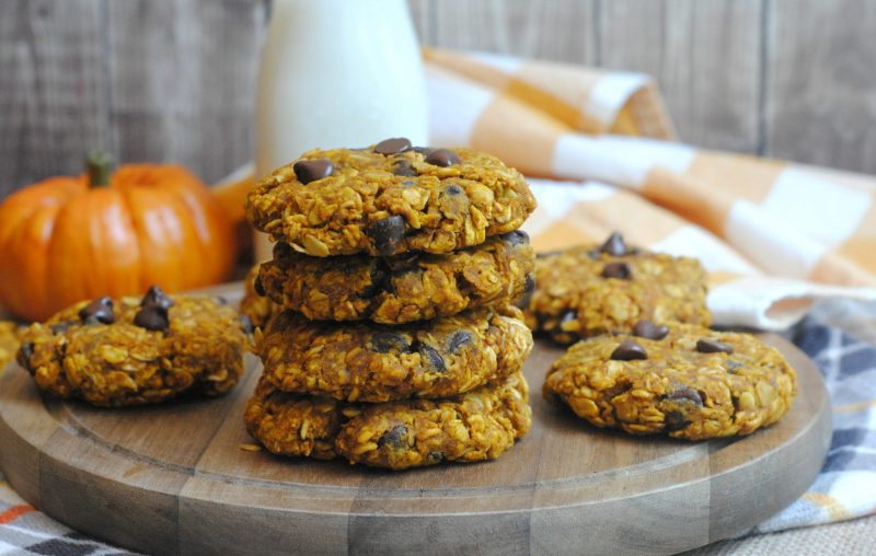Soft and chewy pumpkin oatmeal cookies with chocolate chips