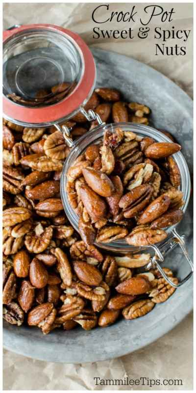 Slow Cooker Crock Pot Sweet and Spicy Nuts Recipe! The crockpot makes this appetizer side dish so easy to make! Great for the holidays #Recipe #nuts #crockpot #slowcooker