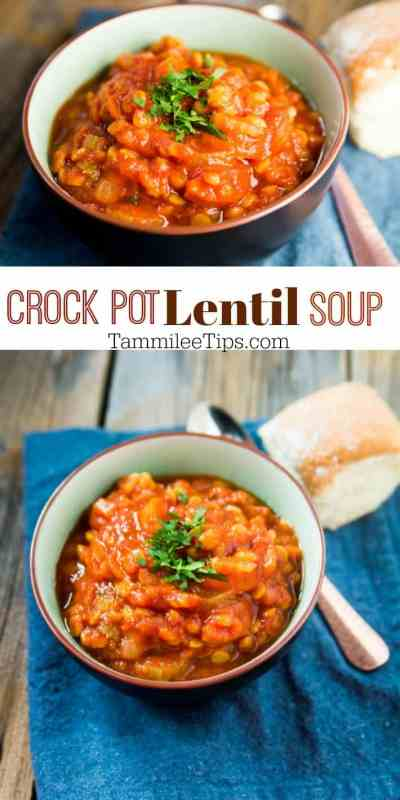 Easy healthy crockpot vegan lentil soup recipe! Filled with vegetables and yummy goodness! A great winter comfort stew! #crockpot #slowcooker #lentil #soup #recipe #vegan