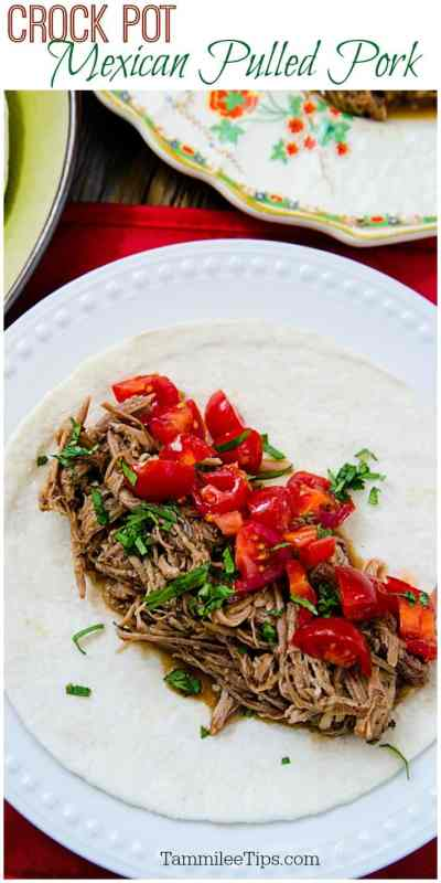 Slow Cooker Crock Pot Mexican Pulled Pork is so easy to make! Great for dinner at home, to celebrate Cinco de Mayo or any night you want a delicious family meal!