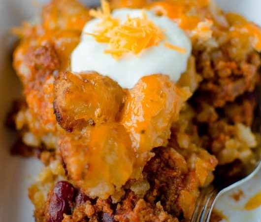 Slow Cooker Crock Pot Sloppy Joe Tater Tot Casserole Recipe