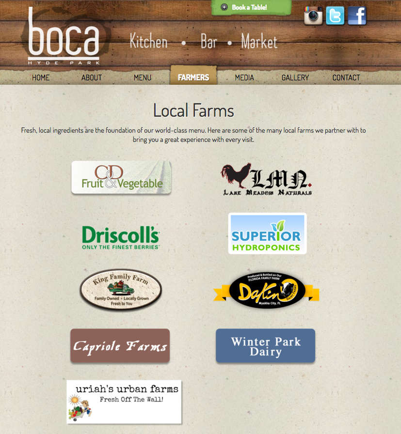 Boca's web site listing several local farms as suppliers
